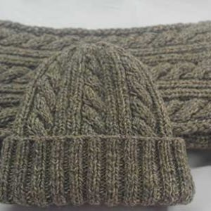 22F Rib & Cable Hat & Scarf Set Mushroom