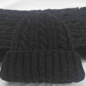 22F Rib & Cable Hat & Scarf Set Charcoal