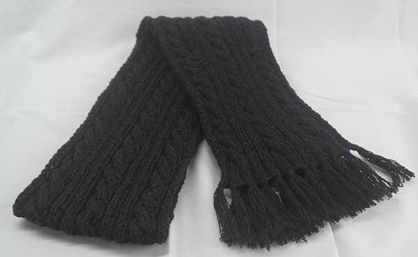 22F Rib & Cable Hat & Scarf Set Midnight