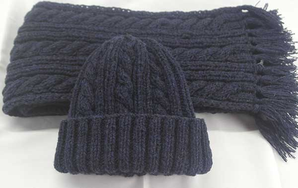 22F Rib & Cable Hat & Scarf Set Nightshade