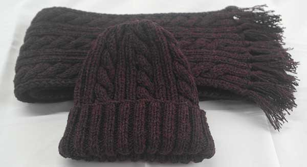 22F Rib & Cable Hat & Scarf Set Rembrant