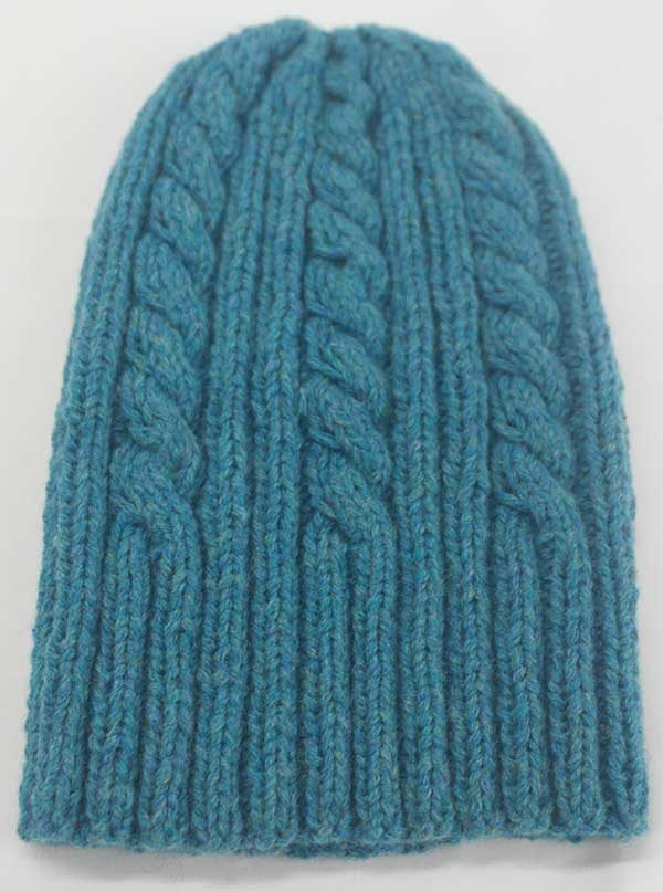 22F Rib & Cable Hat & Scarf Set Azure