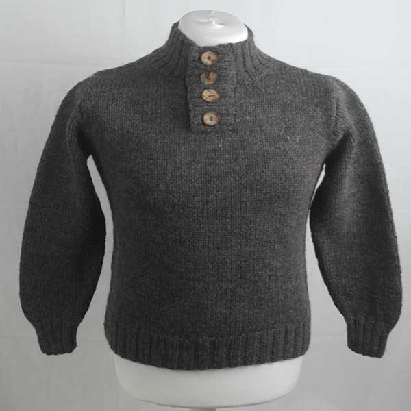 208 Granton Buttoned Sweater 263a Dark Grey N604