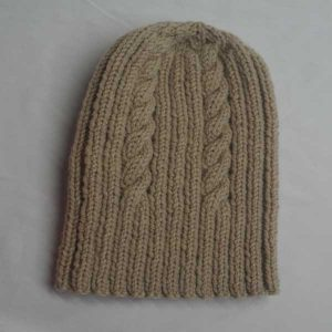 22F Rib & Cable Hat Wheat