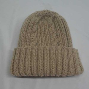 22F Rib & Cable Hat Wheat