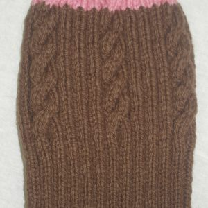 22F Rib & Cable Hat Brown/Clover