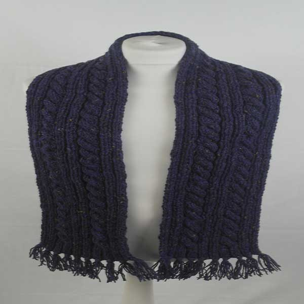 22F Rib & Cable Scarf Violet 7057
