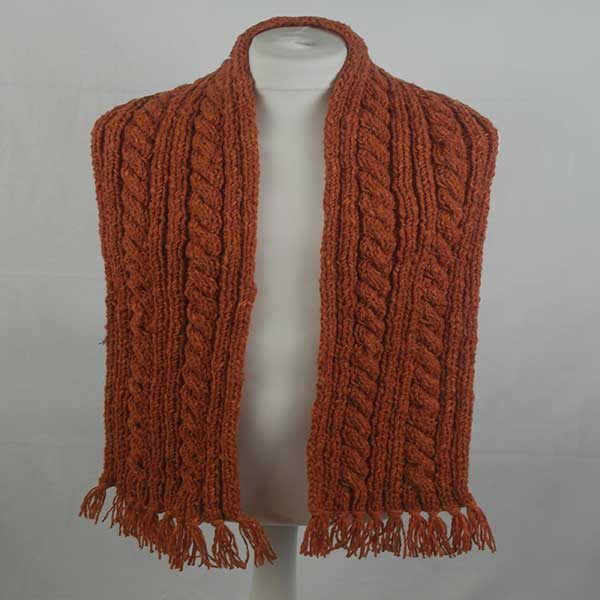 22F Rib & Cable Scarf Orange 7019