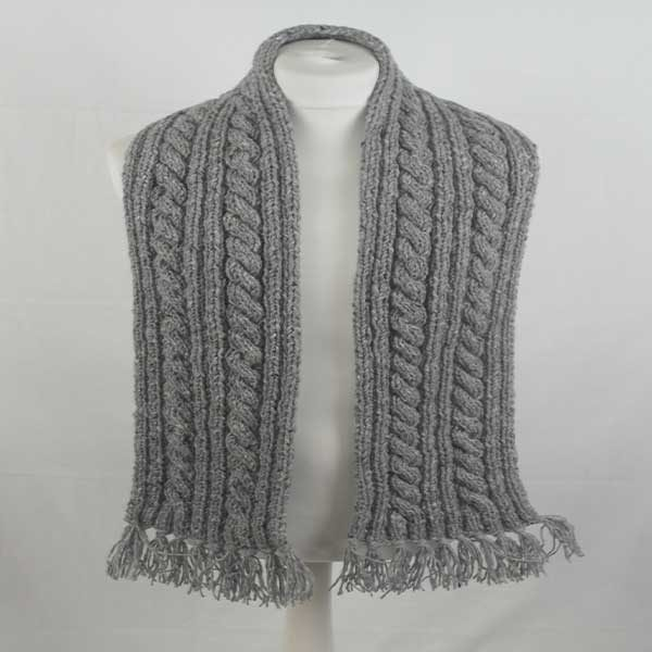 22F Rib & Cable Scarf Grey 7004