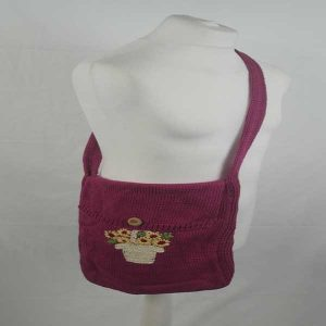 Hand Embroidered Shoulder Bag Magenta