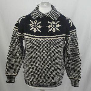 30D Swedish Snowflake Henley Sweater 326a B Navy-Natural
