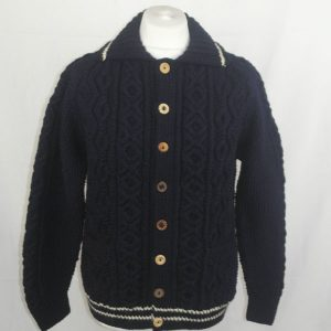 3U Lumber Cardigan with Stripes 327a Navy-Natural