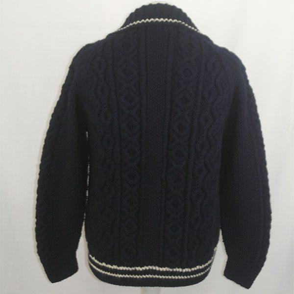 3U Lumber Cardigan with Stripes 327b Navy-Natural