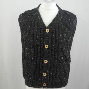 9H Aran Waistcoat 342a Black 7050