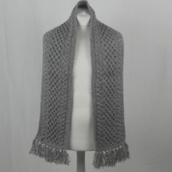 12A Aran Scarf 376b Grey 7004