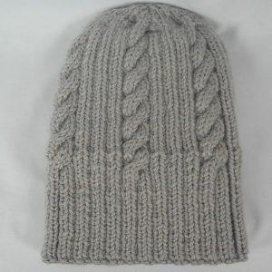 22F Rib & Cable Hat 471b Seagull