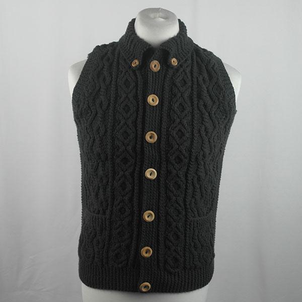3V Aran Waistcoat 432a Charcoal 562