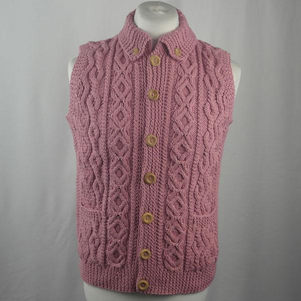 3V Aran Waistcoat 440a Soft Pink 513