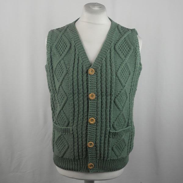 9H Aran Waistcoat 437a Moss Green