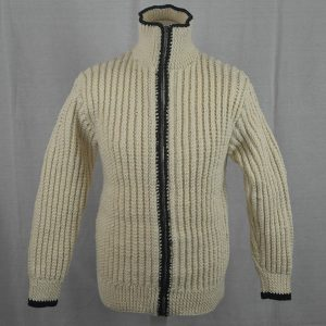 3C Cabled Contrast Full Zip Cardigan 477b Natural-Navy