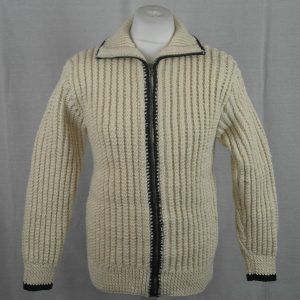 3C Cabled Contrast Full Zip Cardigan 477c Natural-Navy