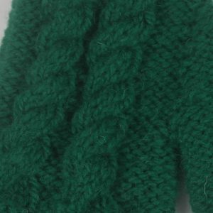 12Q 5 Finger Glove with Cable Pattern 496c Green 10