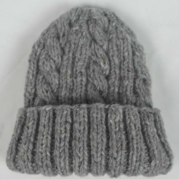 22F Rib & Cable Hat 497a Grey