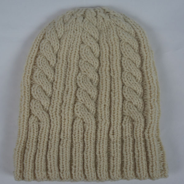 22F Rib & Cable Hat 498b Ecru