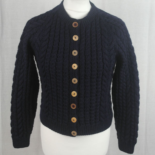 Buttoned Cable Cardigan 491a Navy