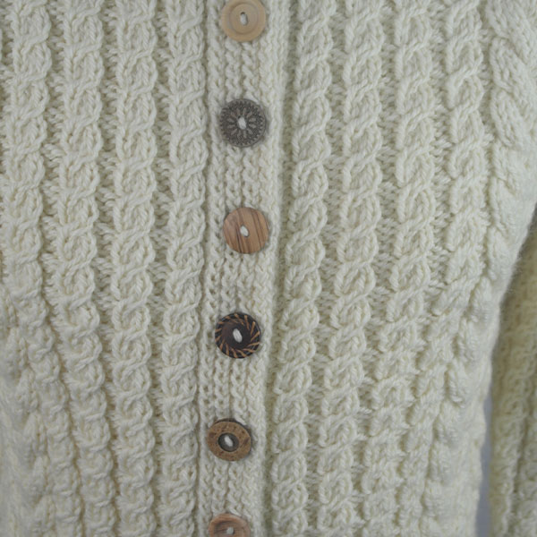 Buttoned Cable Cardigan 494d Natural