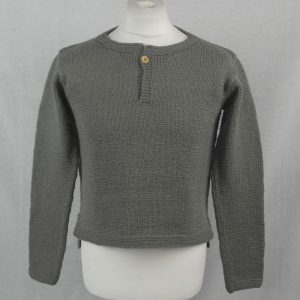 10M Shirt Tail Henley Sweater 500a Olive - Front