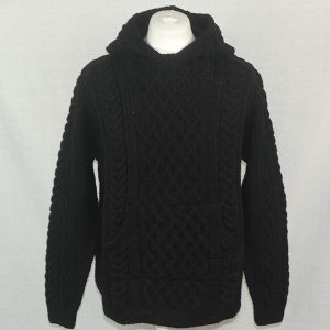 14C Hooded Cable Pullover with Front Pocket 503a Black 44 - Front