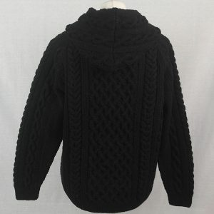 14C Hooded Cable Pullover with Front Pocket 503b Black 44 - Back