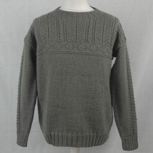 2F Gansey with Cabled Sleeve Sweater 501a Olive - Front