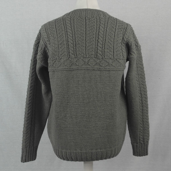 2F Gansey with Cabled Sleeve Sweater 501b Olive - Back