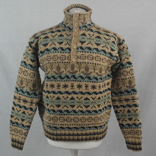 53G Henley Fairisle Sweater 499a Assorted - Front