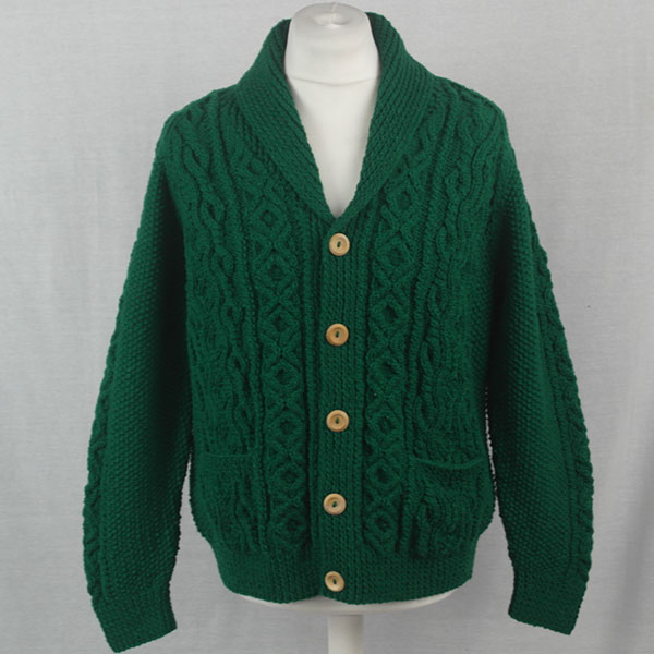 6A Shawl Collar Cardigan 508a Green 10 - Front