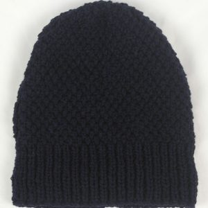 22B Long Moss Stitch Hat 549a New Navy