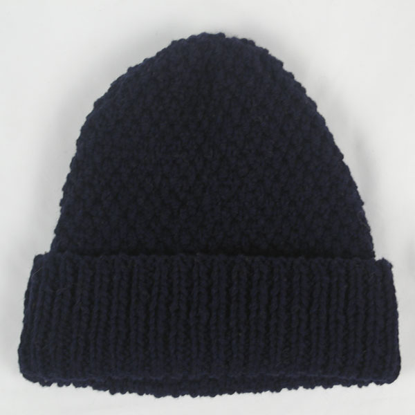 22B Long Moss Stitch Hat 549b New Navy