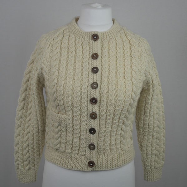 Buttoned Cable Cardigan 556a Natural