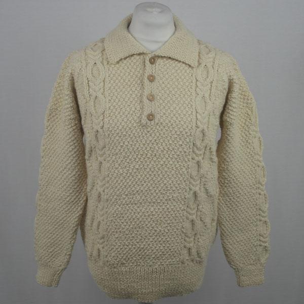 1F Shirt Neck Sweater 564a Natural