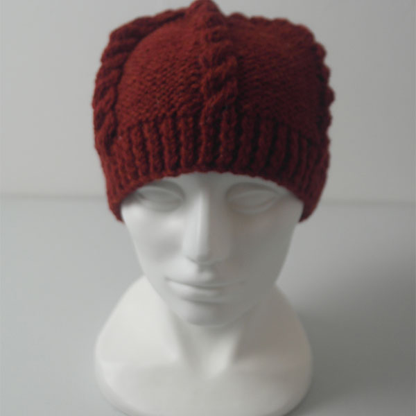 21E Cable & Reverse Stocking Stitch Hat 577a Blaze 0380