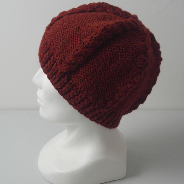 21E Cable & Reverse Stocking Stitch Hat 577b Blaze 0380 Side