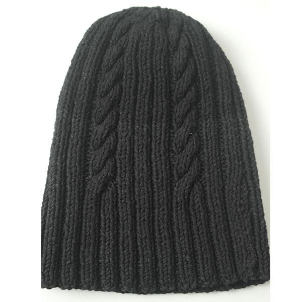 22F Rib & Cable Hat 576a Black Denim Full