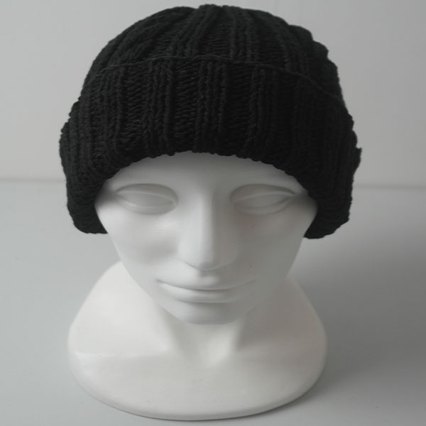 22F Rib & Cable Hat 576b Black Denim