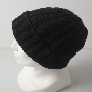 22F Rib & Cable Hat 576c Black Denim Side