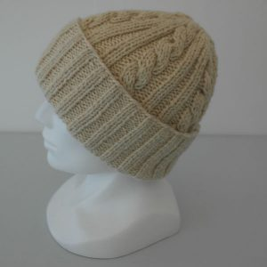 22F Rib & Cable Hat 579b Cream 412 Side