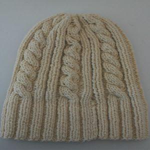 22F Rib & Cable Hat 579c Cream 412