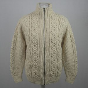 3A Lumber Cardigan with Zip 586a Natural Front