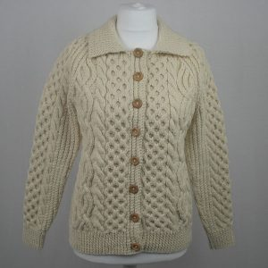 3B Ladies Lumber Cardigan 585a Natural Front